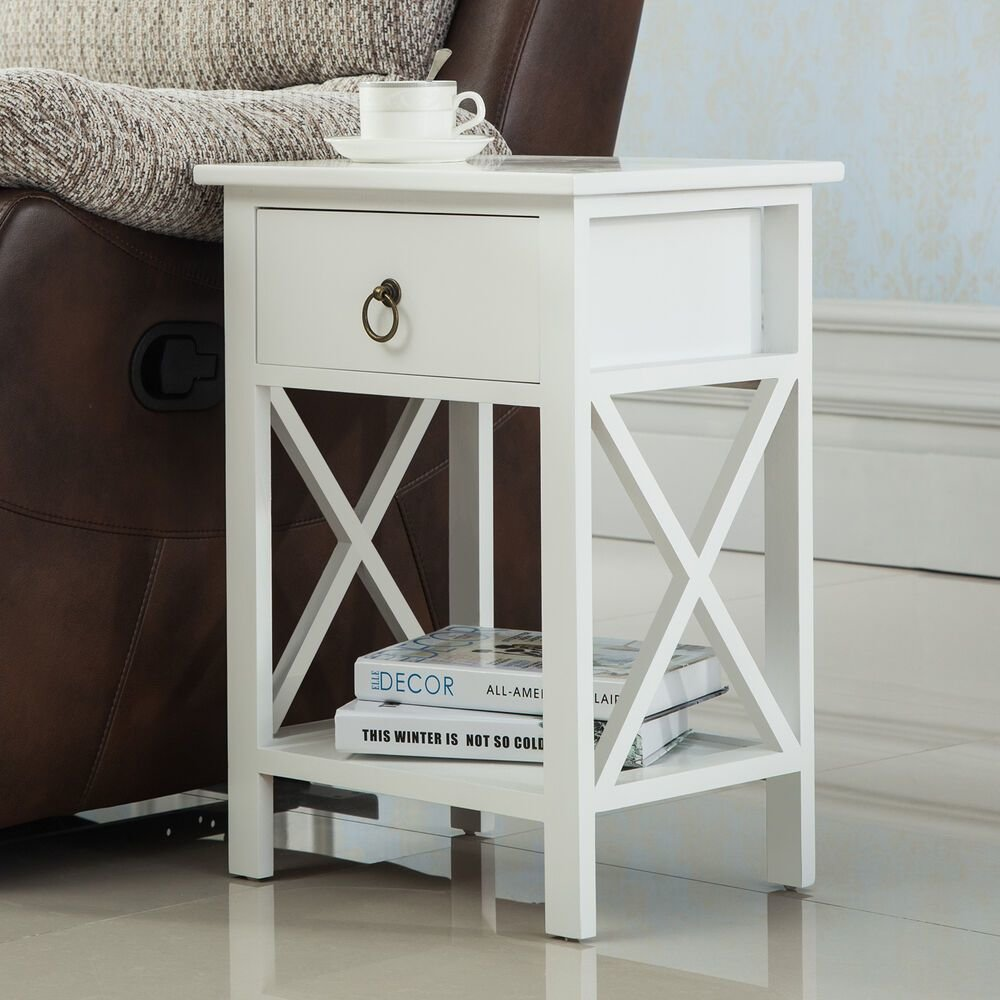 Best White Sofa End Side Bedside Table Nightstand Storage Wood With Pictures