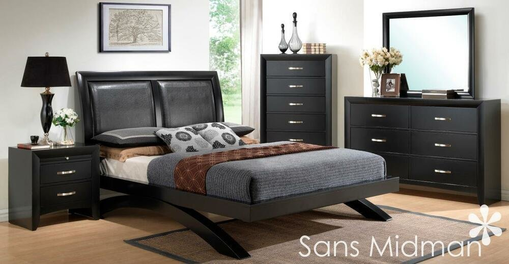 Best New Arc Modern 5 Piece Black Wood Bedroom Furniture Set With Pictures