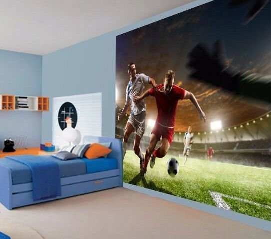 Best Cool Football Tackle Soccer Kids Boys Bedroom Wallpaper Wall Mural 50565180 Ebay With Pictures