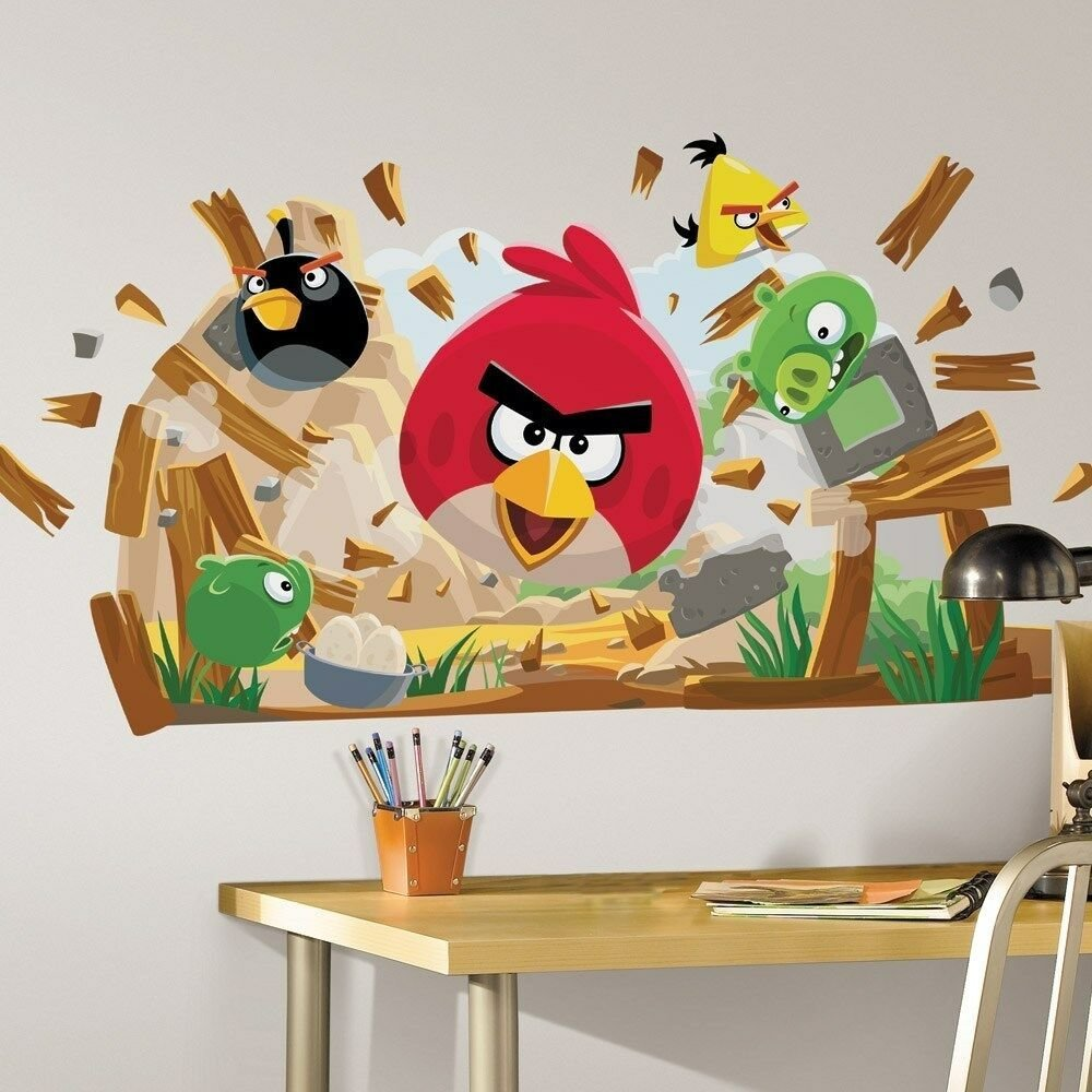 Best New Large Angry Birds Wall Decals Giant Bedroom Stickers Kids Room Decorations Ebay With Pictures