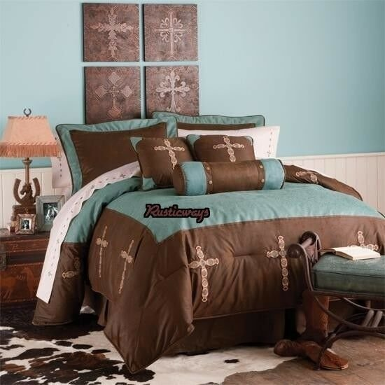 Best New Western Rustic Turquoise Cross Comforter Bedding With Pictures