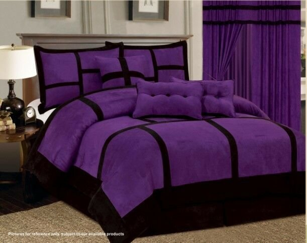 Best 7 Pc Purple Black Comforter Set Micro Suede California With Pictures