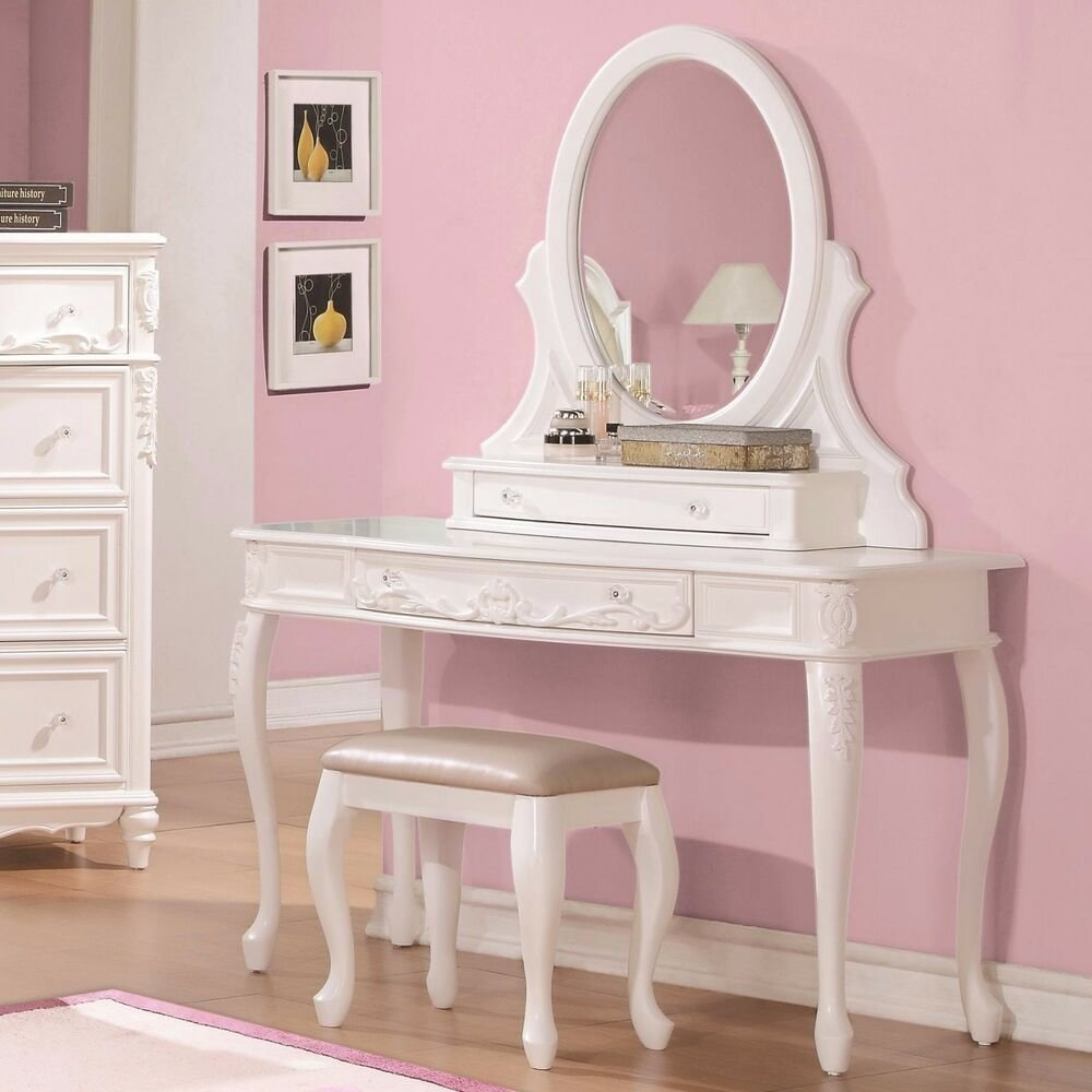 Best Fabulous White Vanity Dressing Table Stool Bedroom Furniture Set Ebay With Pictures
