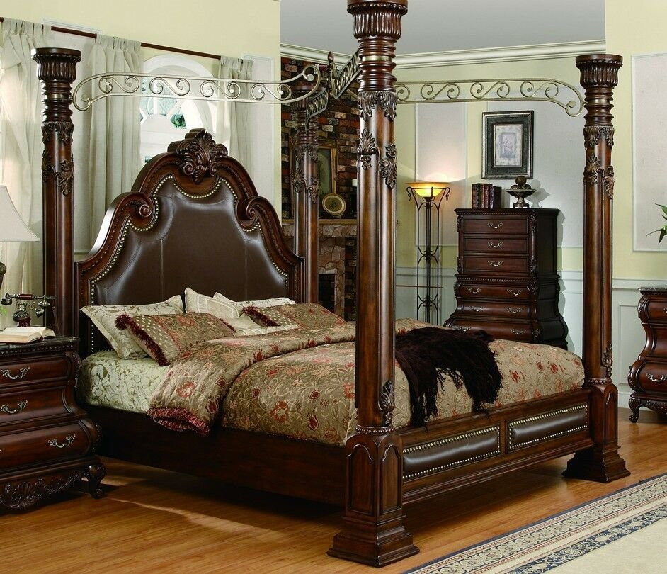 Best Exquisite Top Grain Leather California King Canopy Poster Bed Furniture Ebay With Pictures