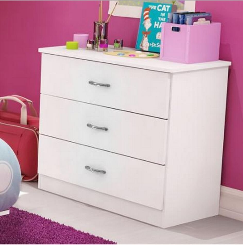 Best New 3 Drawer Chest Dresser Nightstand Kids Teens Girls With Pictures