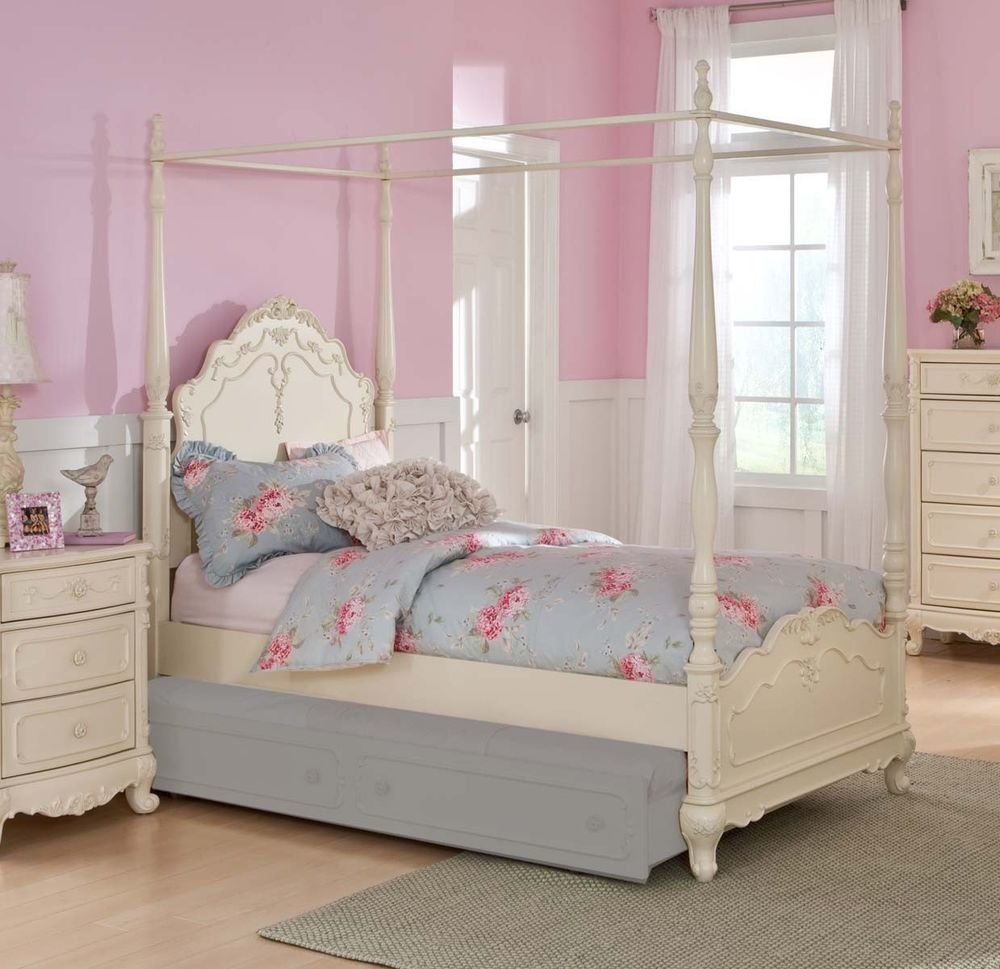 Best Dreamy White Finish Twin Girls Poster Canopy Bed Bedroom With Pictures