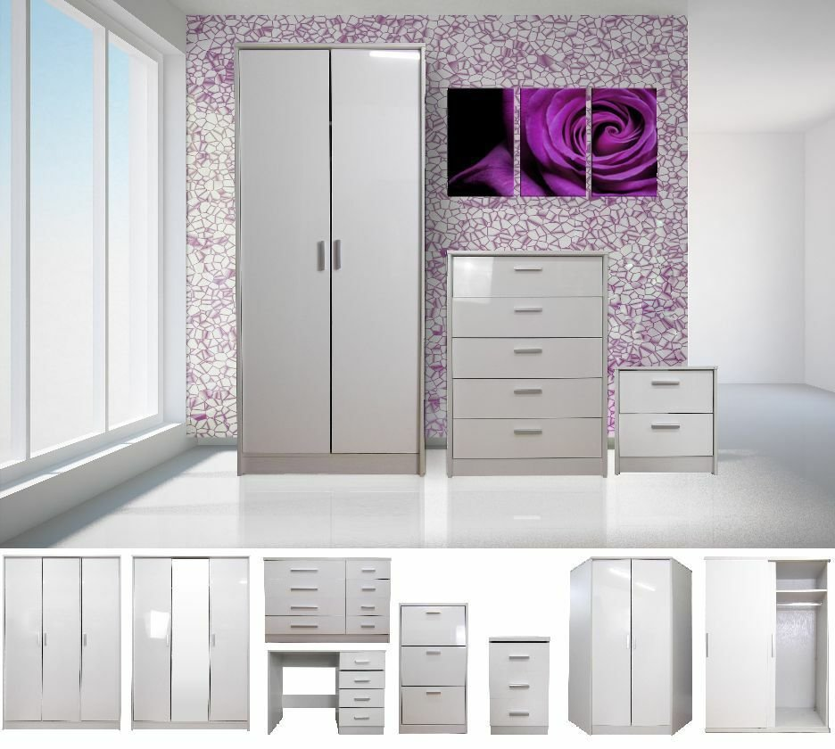 Best High Gloss White Bedroom Furniture Range Wardrobe Tallboy With Pictures