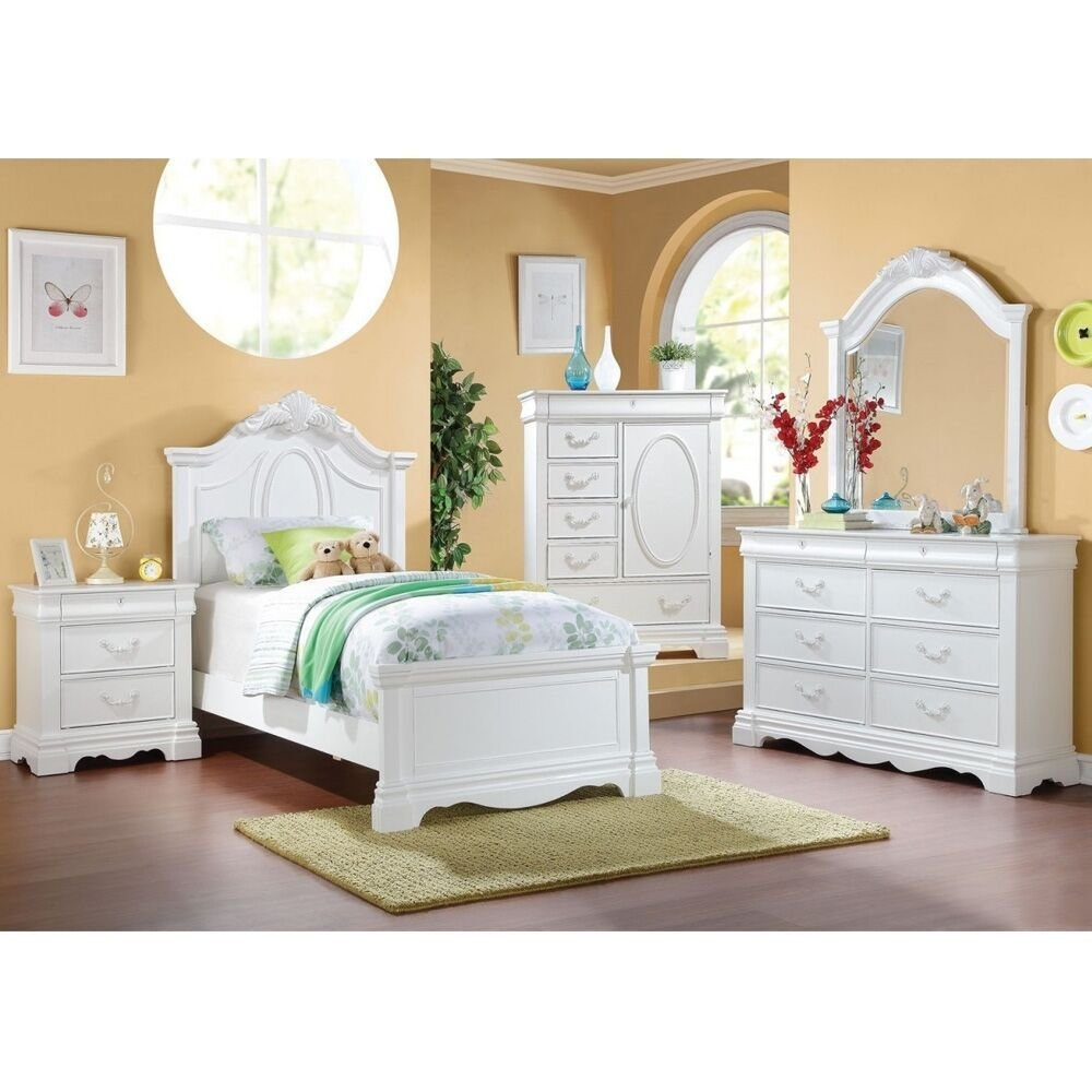Best 4Pc Estrella Collection Girls Youth Room Set Full Size Bed With Pictures