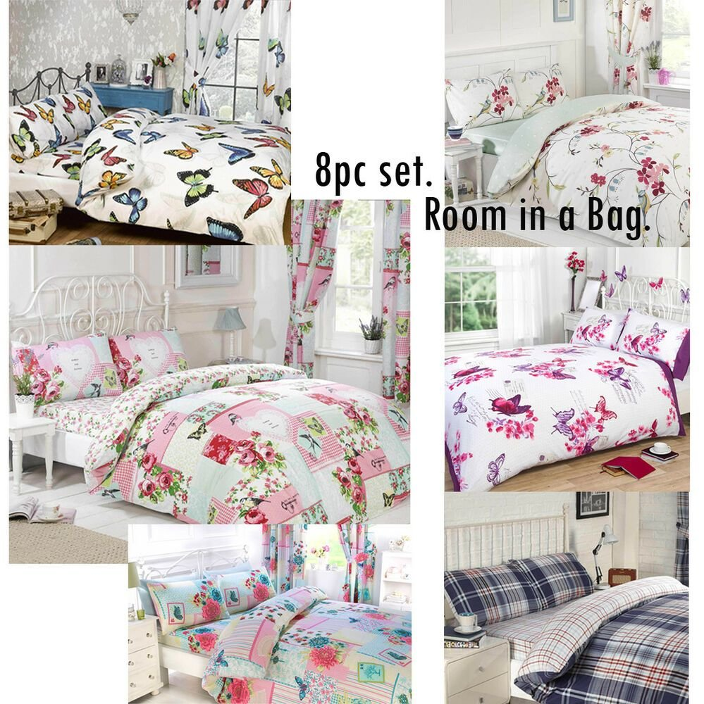 Best 8Pc Complete Bedroom In A Bag Duvet Cover Curtains Fitted Sheet Pillowcases Ebay With Pictures