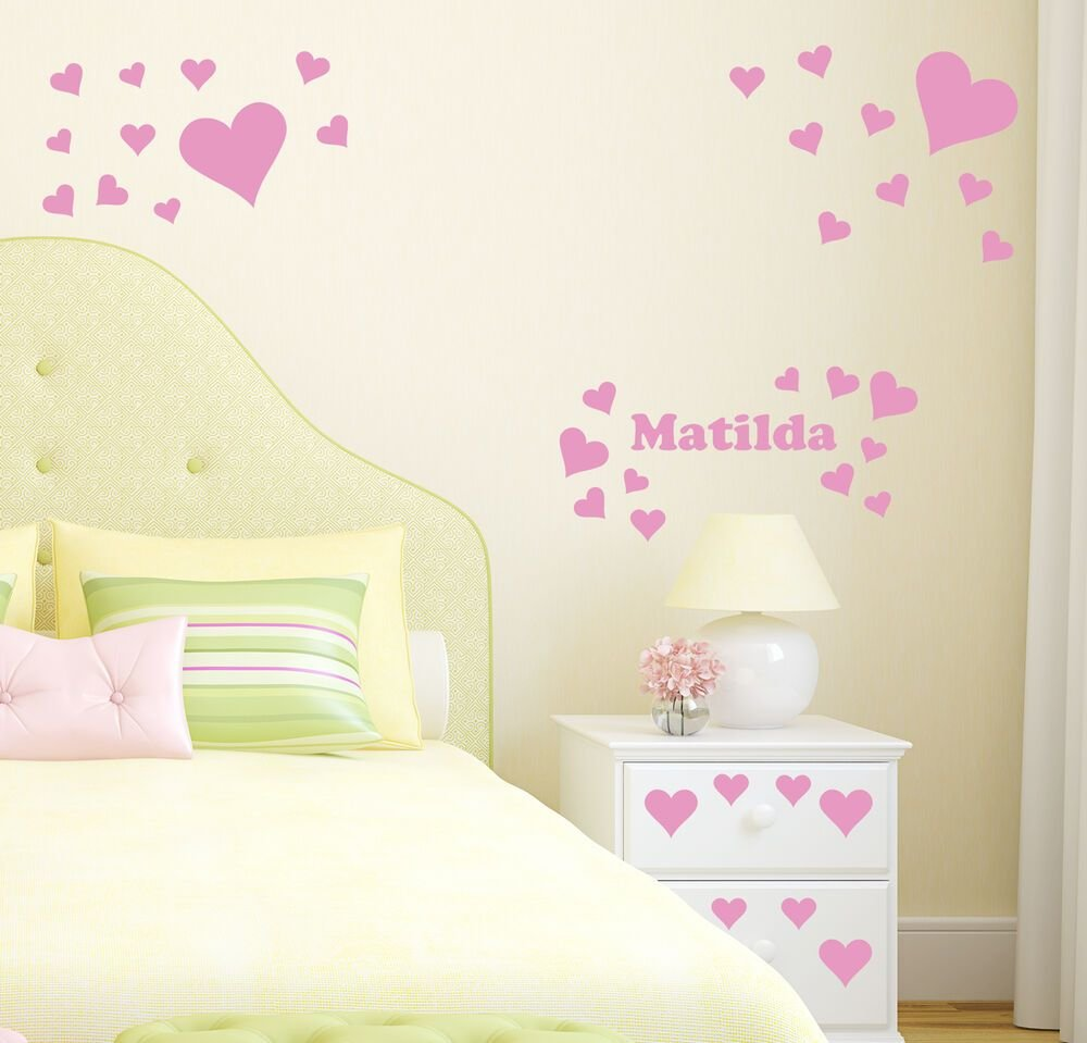 Best Hearts Personalised Wall Sticker Girl S Bedroom Name Decal With Pictures