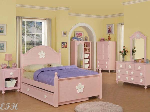Best New 5Pc Coven Pink Wood Girls Twin Full Bedroom Set With Pictures