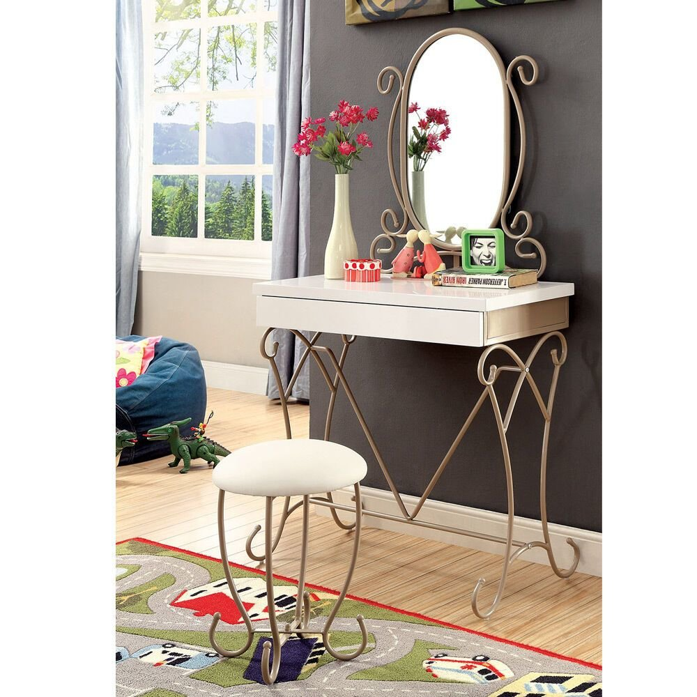 Best Enchant Youth Vanity Makeup Table Set Oval Mirror Lovely With Pictures