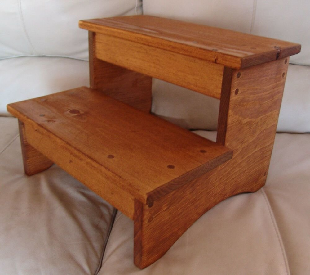 Best Handcrafted Heavy Duty Step Stool Wood Bedside Bedroom Kitchen Kids Md Oak Stain Ebay With Pictures