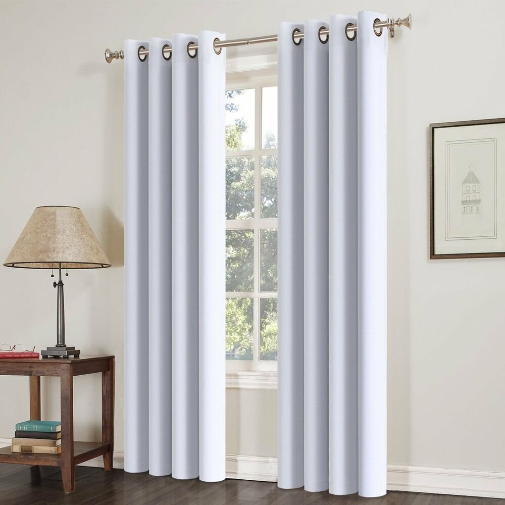 Best 2Pcs Blackout Curtains Thermal Insulated Solid Grommets Curtains For Bedroom Ebay With Pictures
