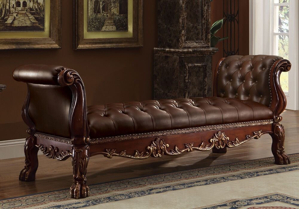 Best Dresden Elegant Bedroom Long Bench Button Tufted Seat Arms Claw Leg Pu Dark Oak Ebay With Pictures