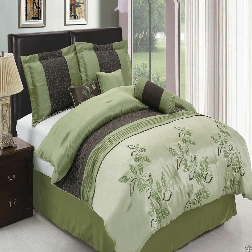 Best 7Pc Pasadena Green Luxury Bedding Set With Pillows Shams With Pictures