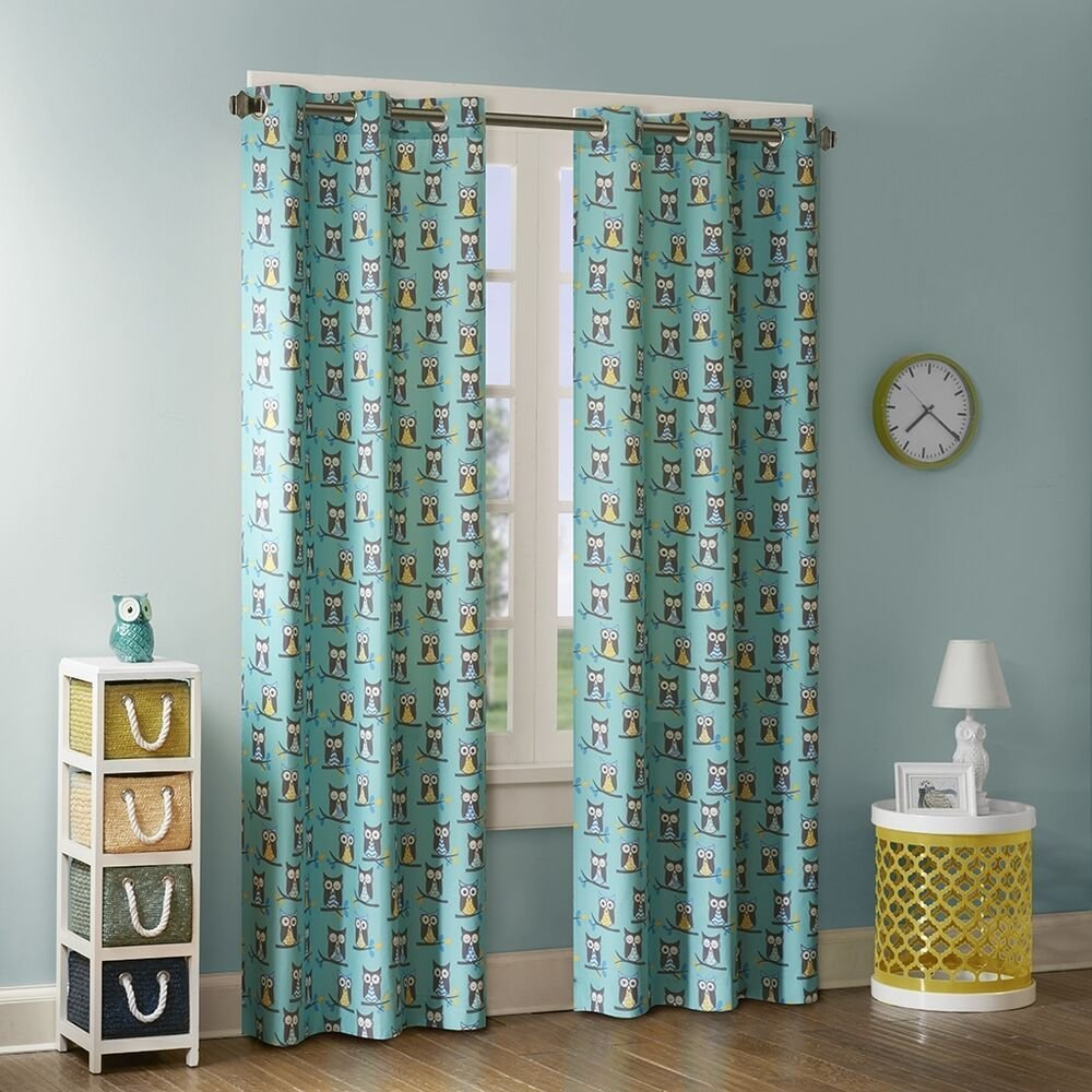 Best Set Of 2 Owl Print Curtains Teal Panels Kids Bedroom Decor With Pictures