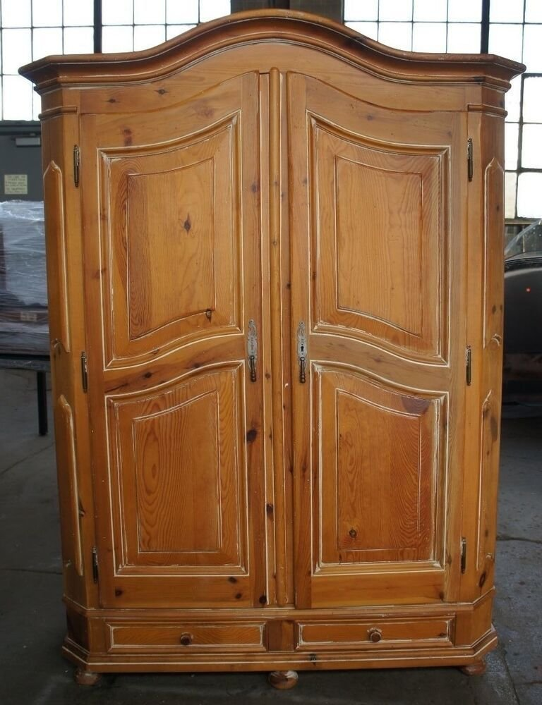 Best Vtg Distressed Pine Bedroom Clothing Armoire Country With Pictures