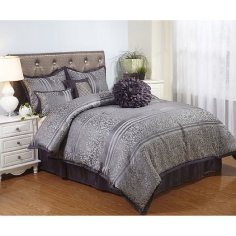 Best Gray Bedding Comforter Set Polyester Queen Size 7 Piece With Pictures