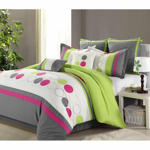 Best Green Grey King 8 Pieces Comforter Set Bed In A Bag T**N Girl Bedroom Bedding Ebay With Pictures