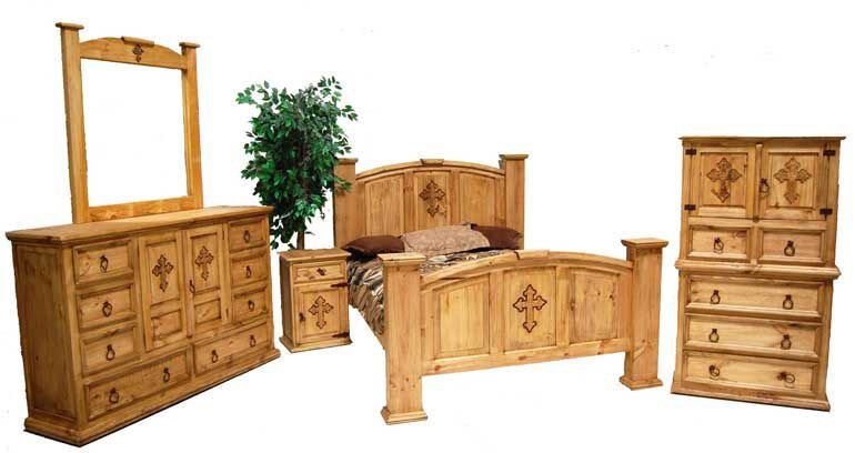 Best Honey Rustic Cross Bedroom Set Western Real Solid Wood With Pictures