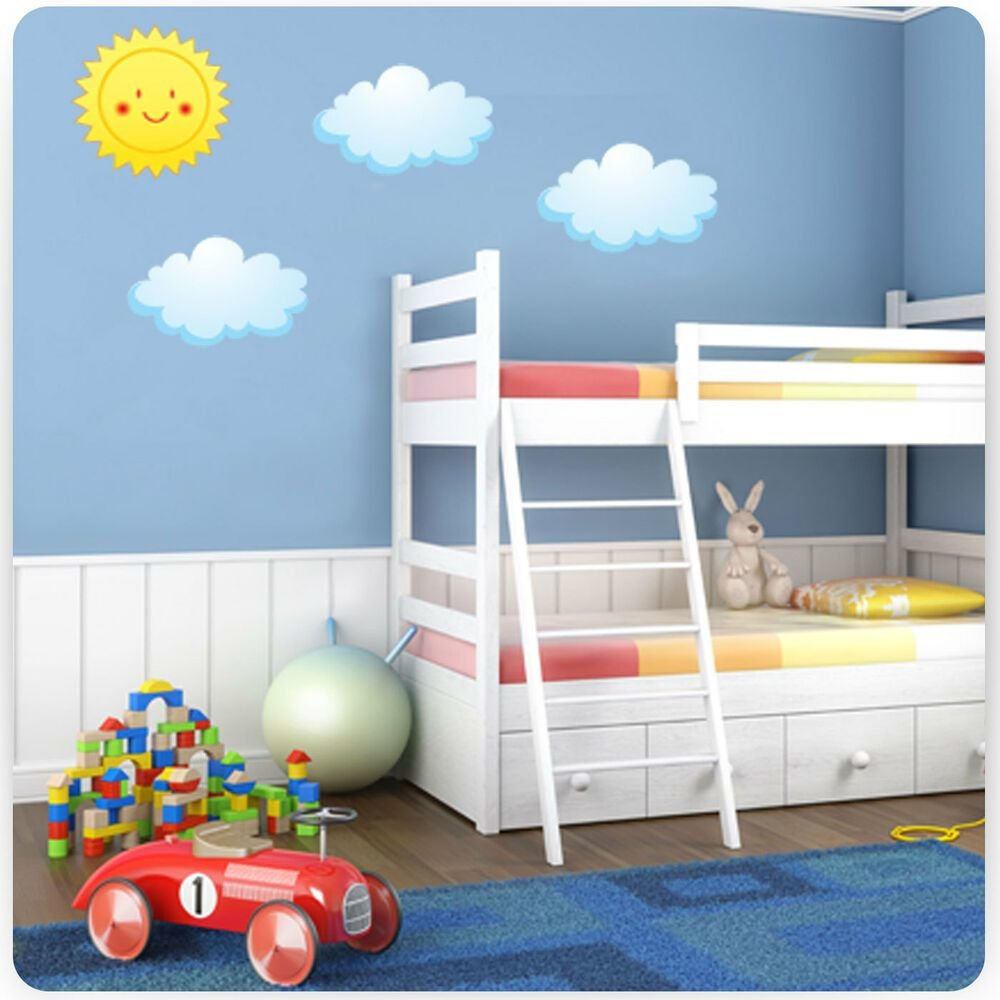 Best Childrens Kids Bedroom Sun And Clouds Wall Art Stickers With Pictures