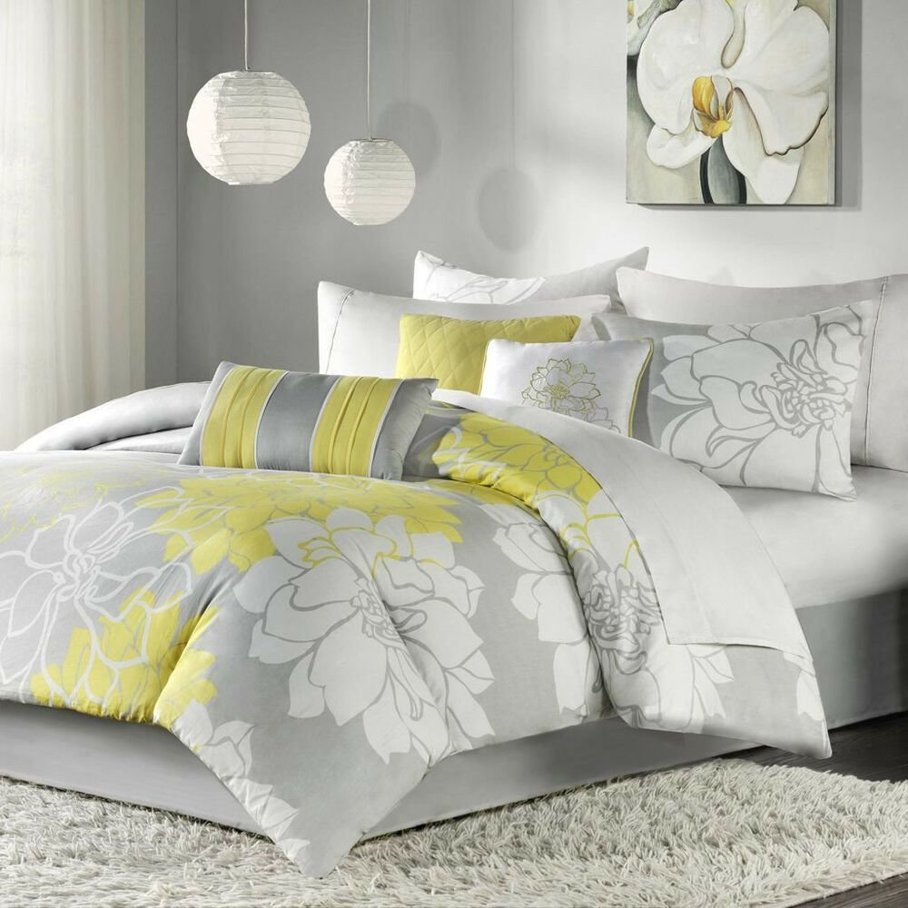 Best Beautiful Chic Grey Gray Yellow Floral Modern 6 Pc Comforter Set Cal King Ebay With Pictures