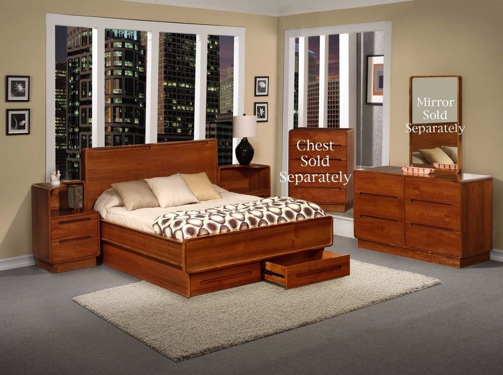 Best Metro European Contemporary Design Teak Wood Bedroom 4Pc With Pictures