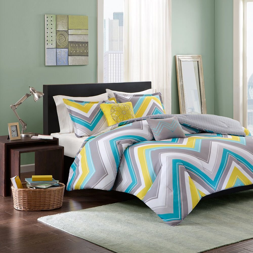 Best Beautiful 5Pc Teal Blue Grey Yellow Aqua Chevron Stripe With Pictures
