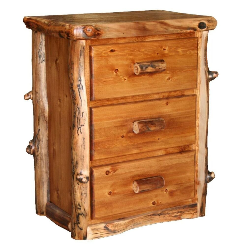 Best Log Nightstand With 3 Drawers Country Western Rustic With Pictures
