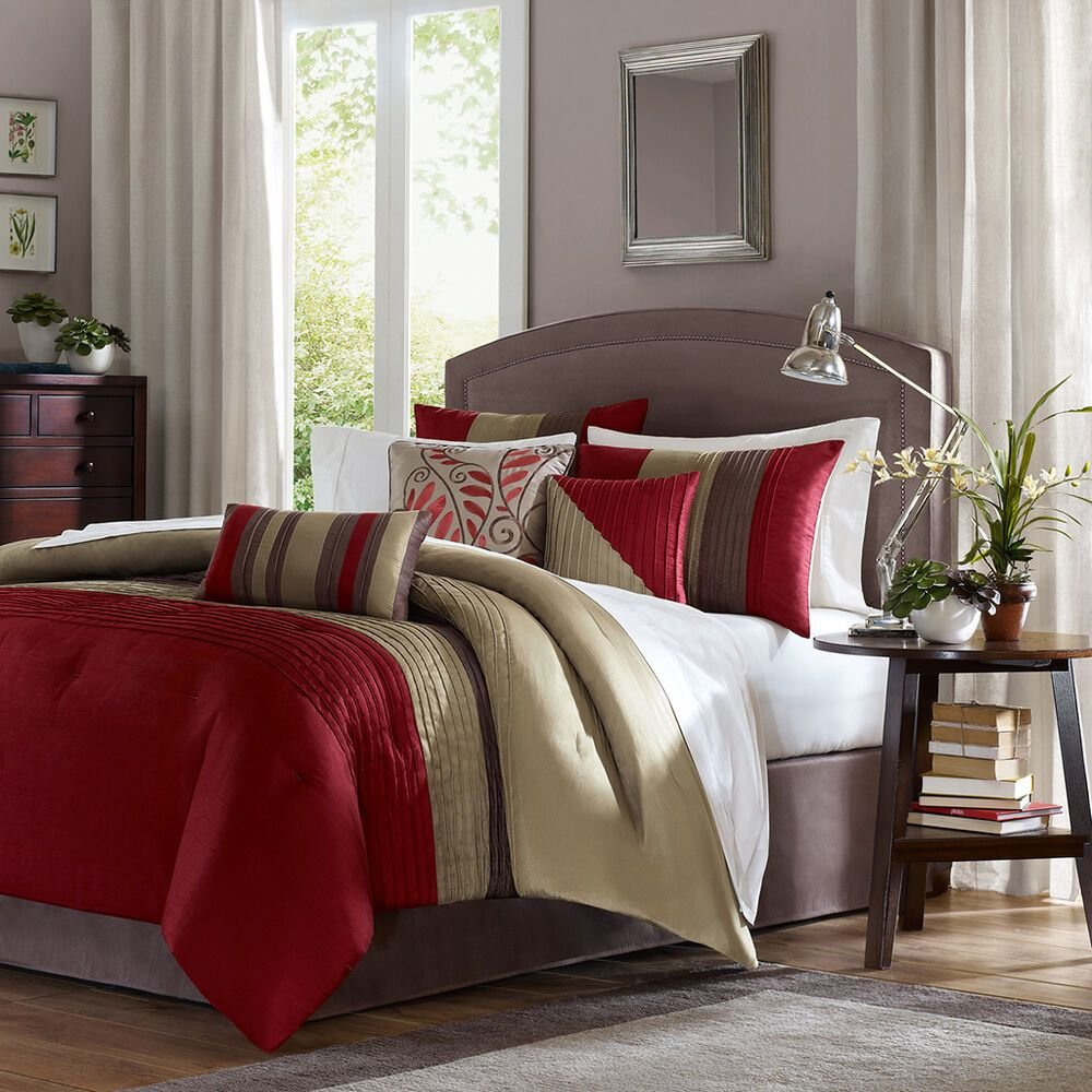 Best Beautiful 7 Pc Red Beige Taupe Brown Stripe Comforter Set With Pictures