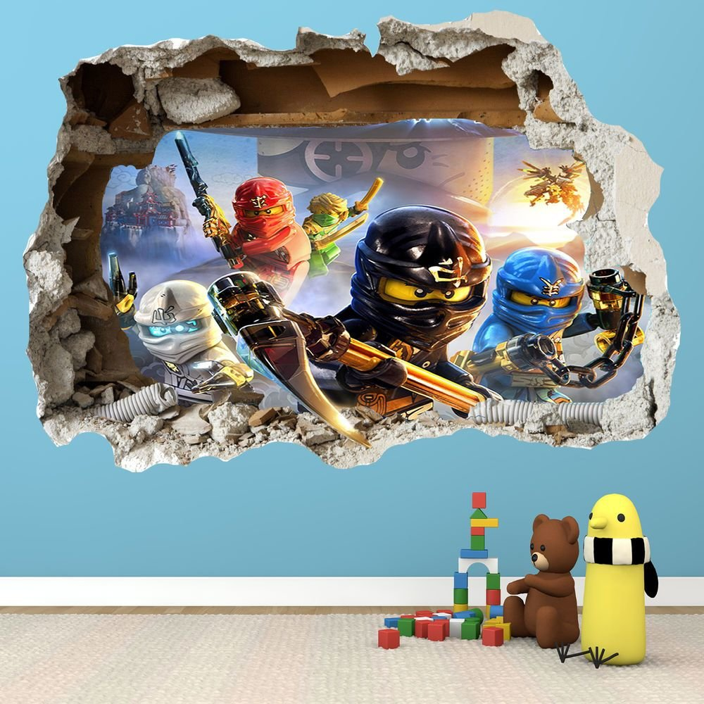 Best Lego Ninjago Smashed Wall Sticker 3D Bedroom Boys Girls With Pictures