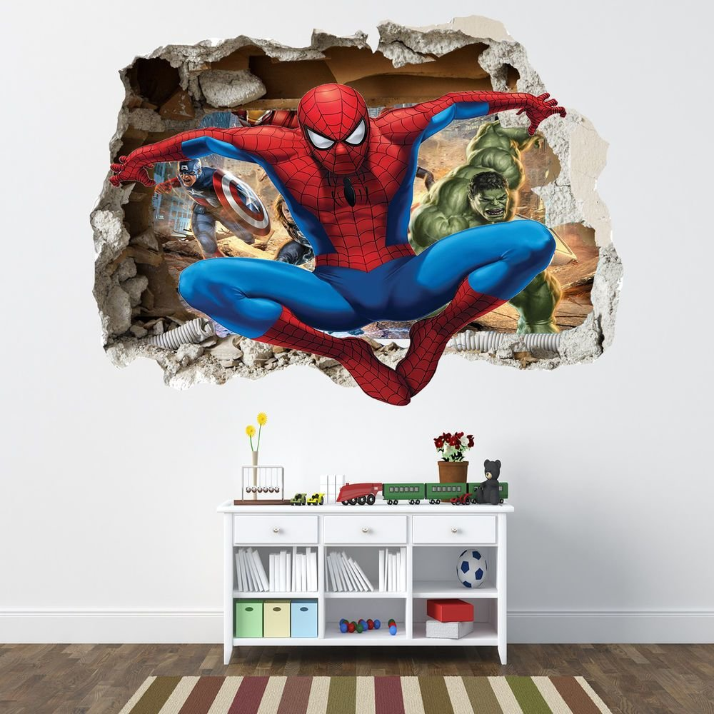Best Spiderman Smashed Wall Sticker Bedroom Boys Avengers With Pictures