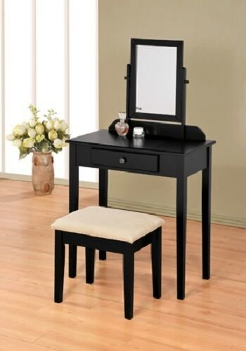 Best Black Finish Contemporary Bedroom Vanity Set With Stool Ebay With Pictures