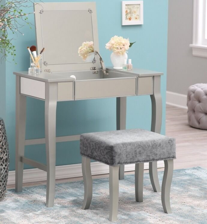Best Glamrous Mirrored Vanity Set Make Up Table Stool Dressing With Pictures