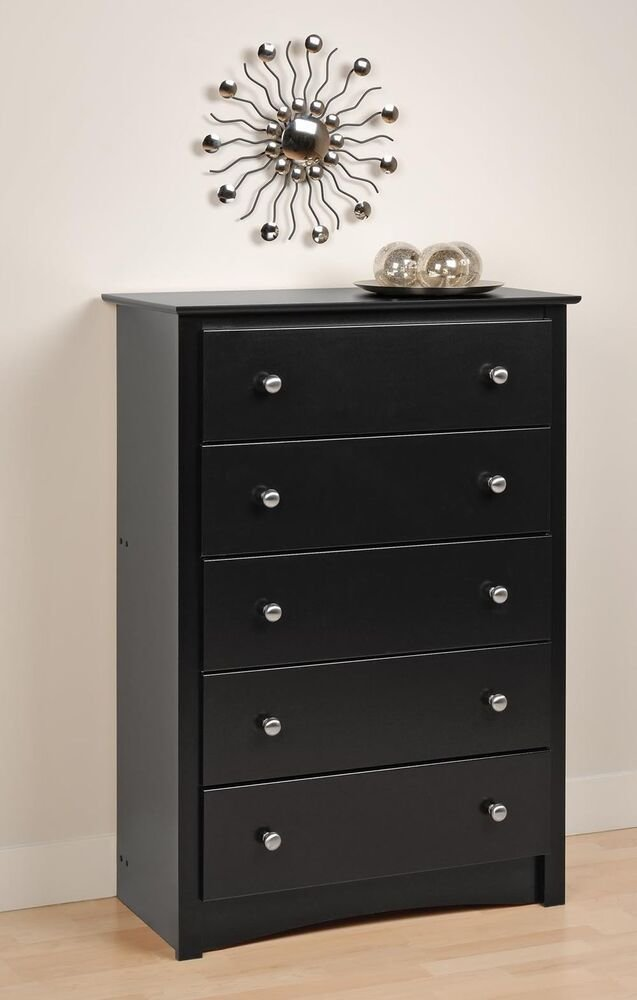 Best Bedroom Sonoma 5 Drawer Dresser Chest Black New Ebay With Pictures