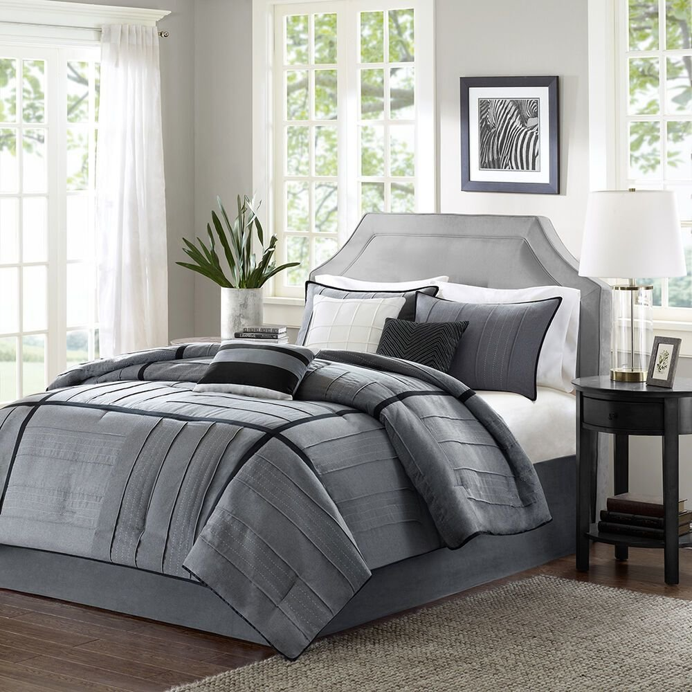 Best Beautiful 7 Pc Grey Black Ivory Soft Modern Comforter Set With Pictures