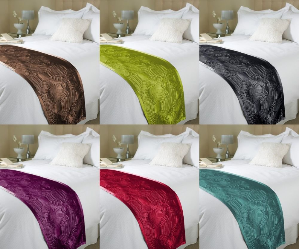 Best Embossed Satin Bed Runner Throw Bedding Duvet End Runner With Pictures