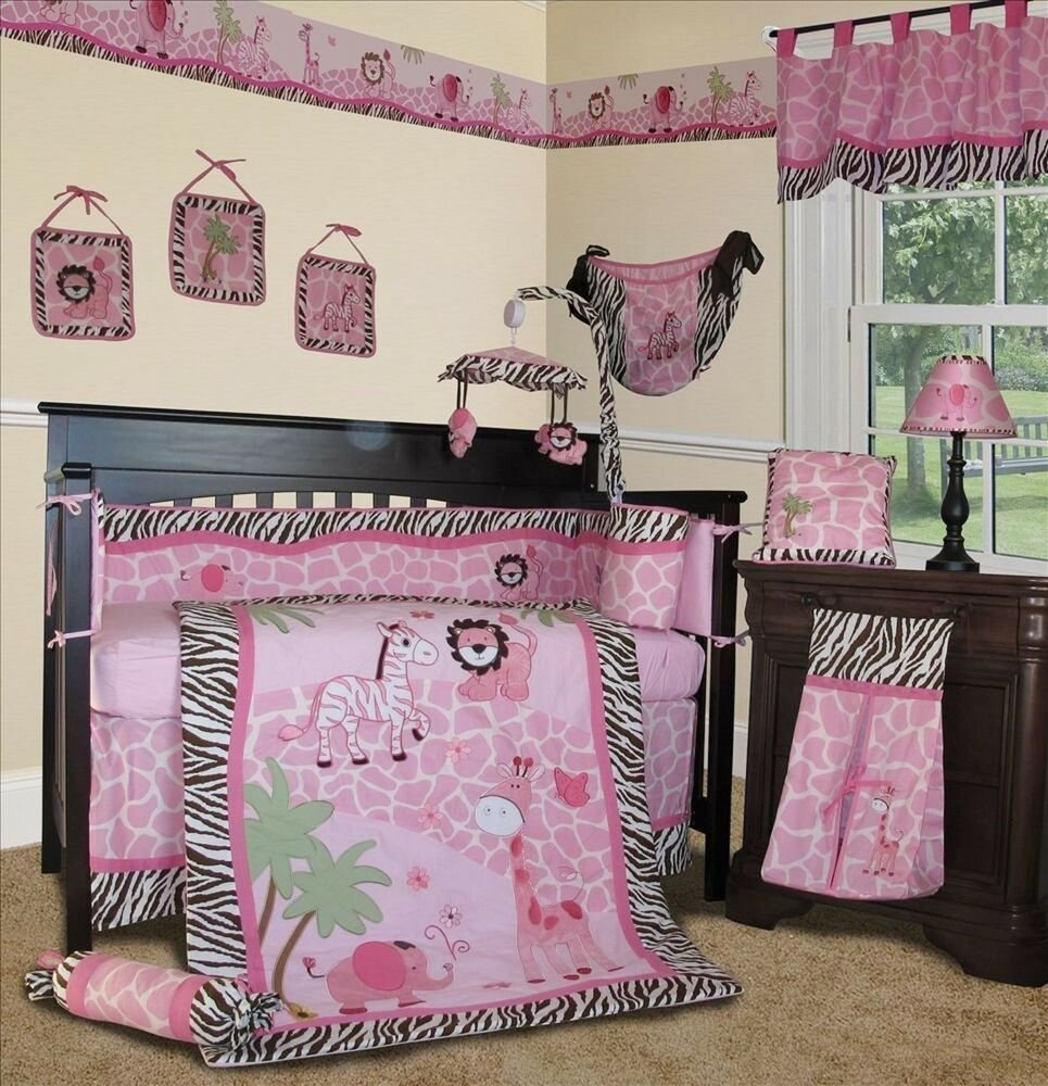 Best Baby Boutique Pink Safari 15 Pcs Nursery Crib Bedding With Pictures