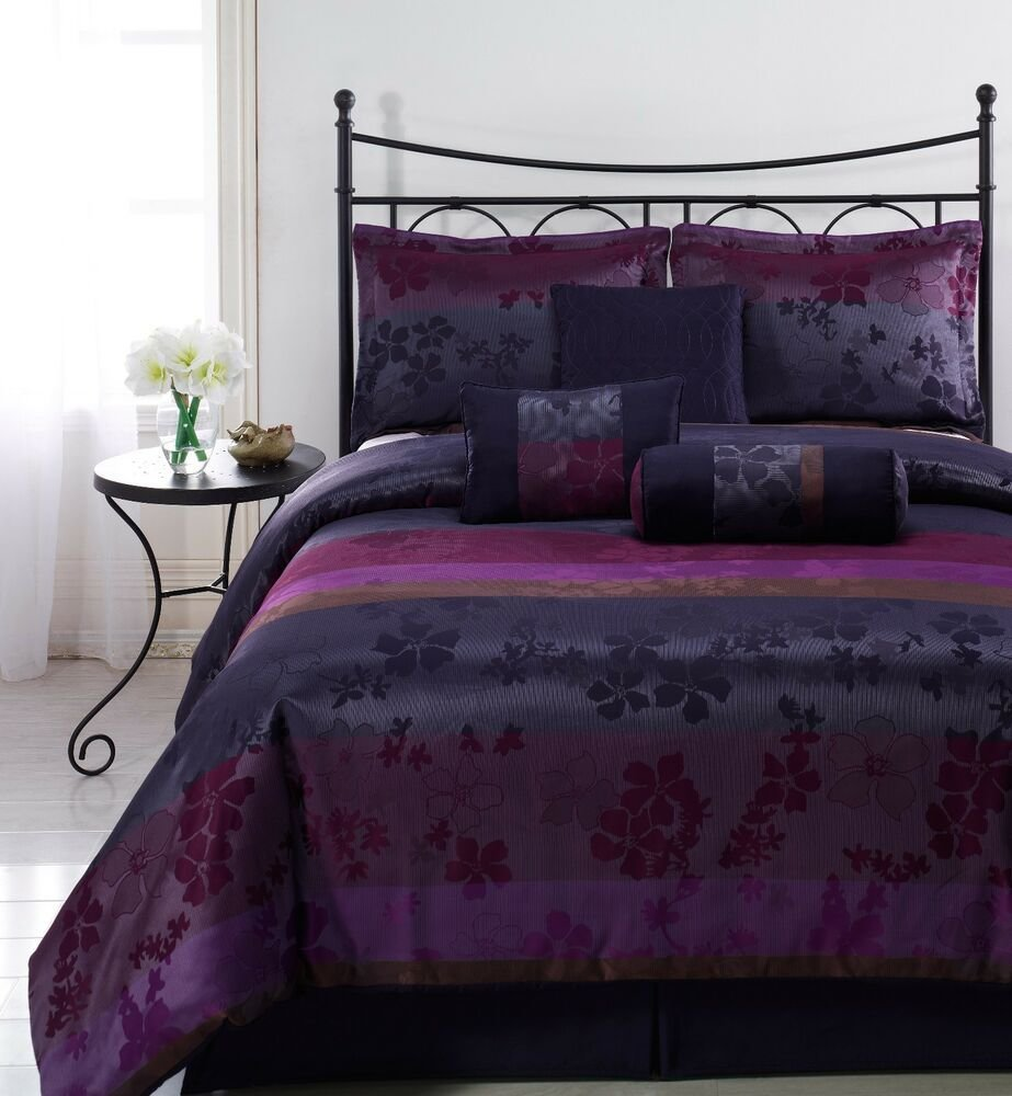 Best Liz 7Pc Jacquard Multi Purple Color Comforter Set Full With Pictures