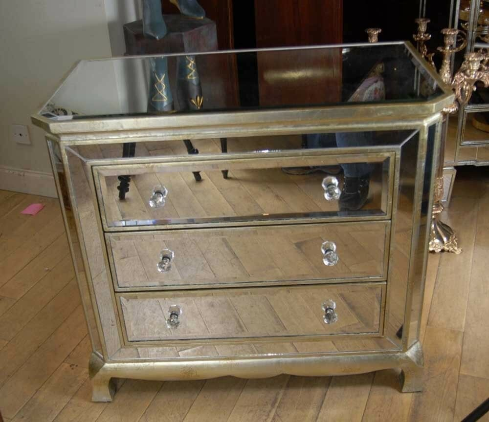 Best Art Deco Mirrored Italian Chest Drawers Commode Cabinet Ebay With Pictures
