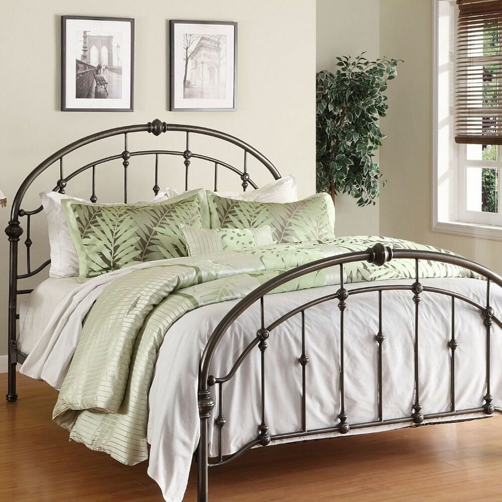 Best Metal Bed Frame Queen Antique Pewter Steel Headboard With Pictures
