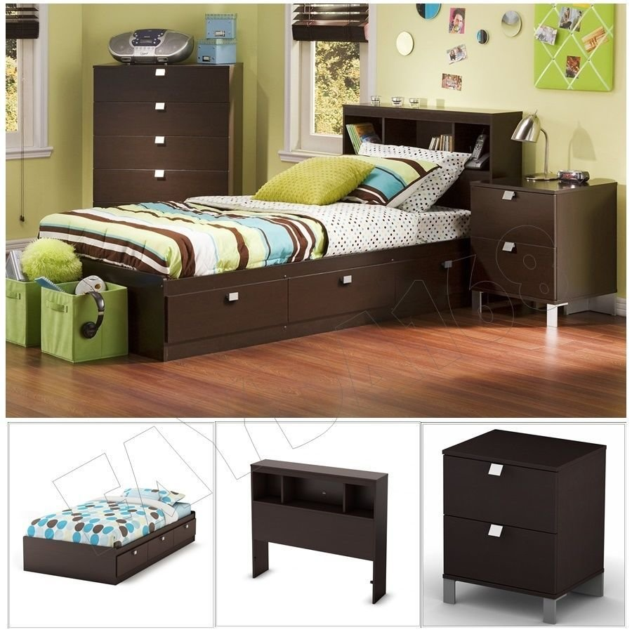 Best 3 Piece Chocolate Modern Bedroom Furniture Collection Twin Size Platform Bed Set Ebay With Pictures