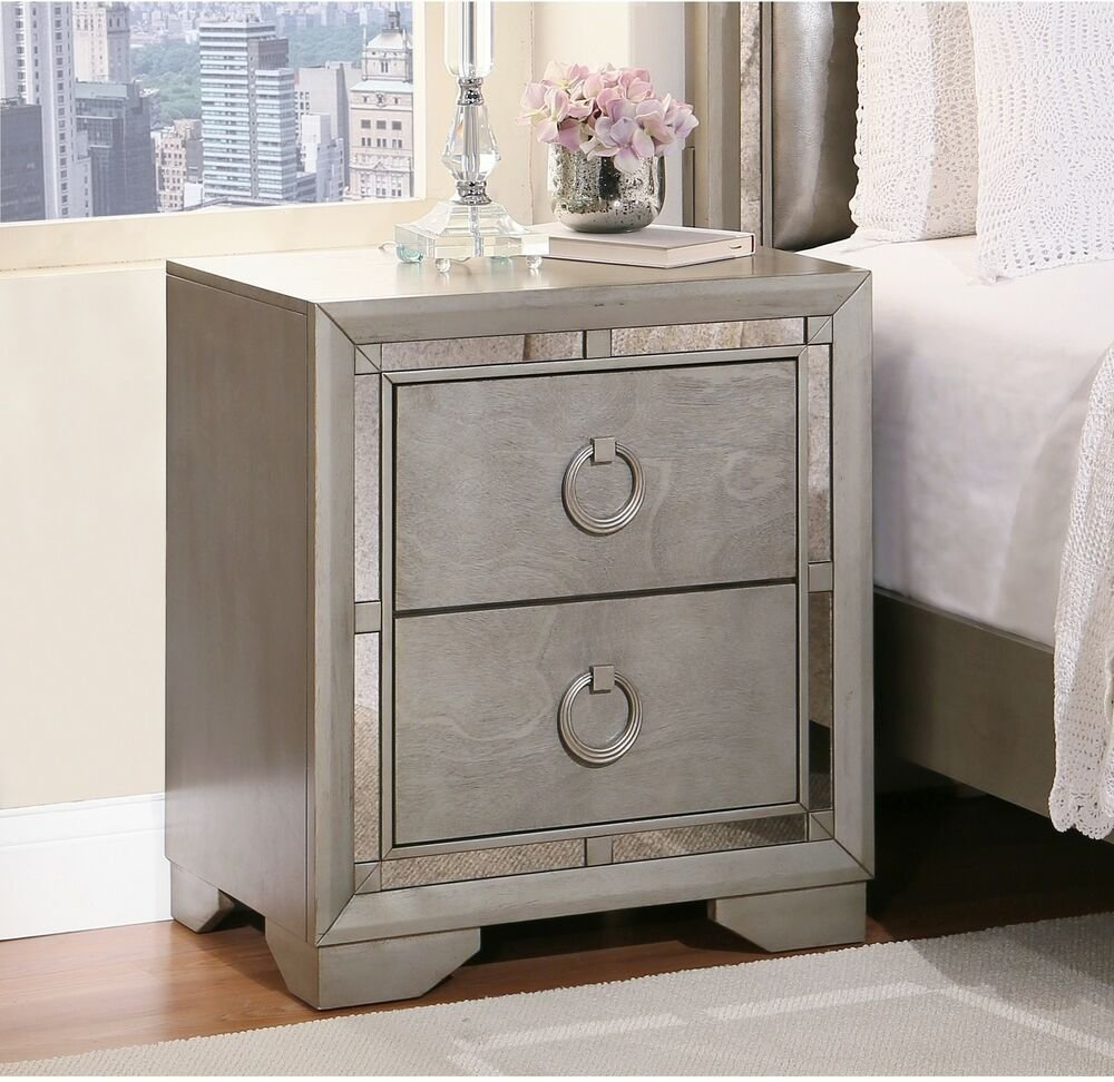 Best Mirrored Drawer Nightstand Lamp Desk Book Storage Organizer Bedroom Furniture Ebay With Pictures