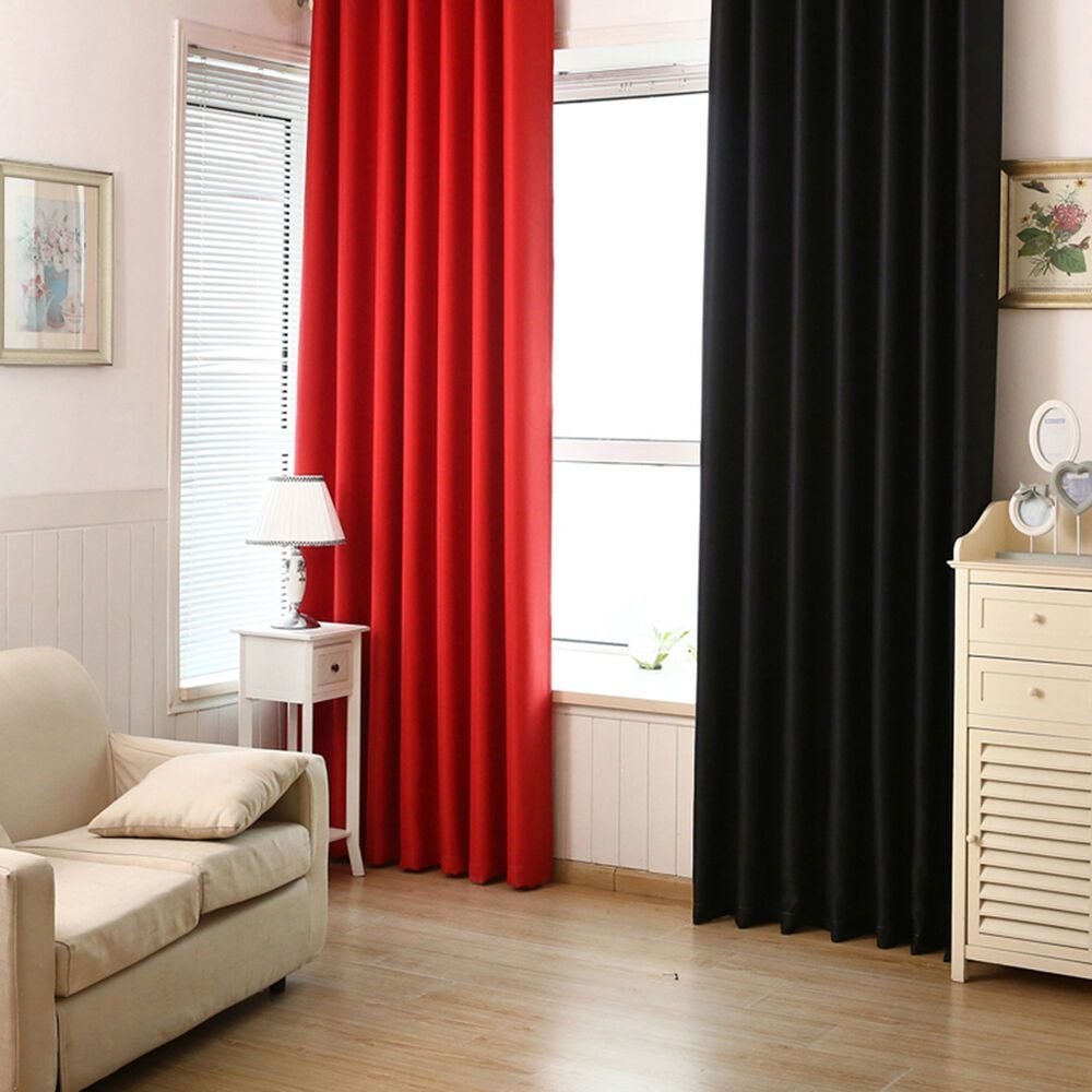 Best Blackout Room Darkening Curtains Window Panel Drapes Bedroom Solid Lined Curtain Ebay With Pictures