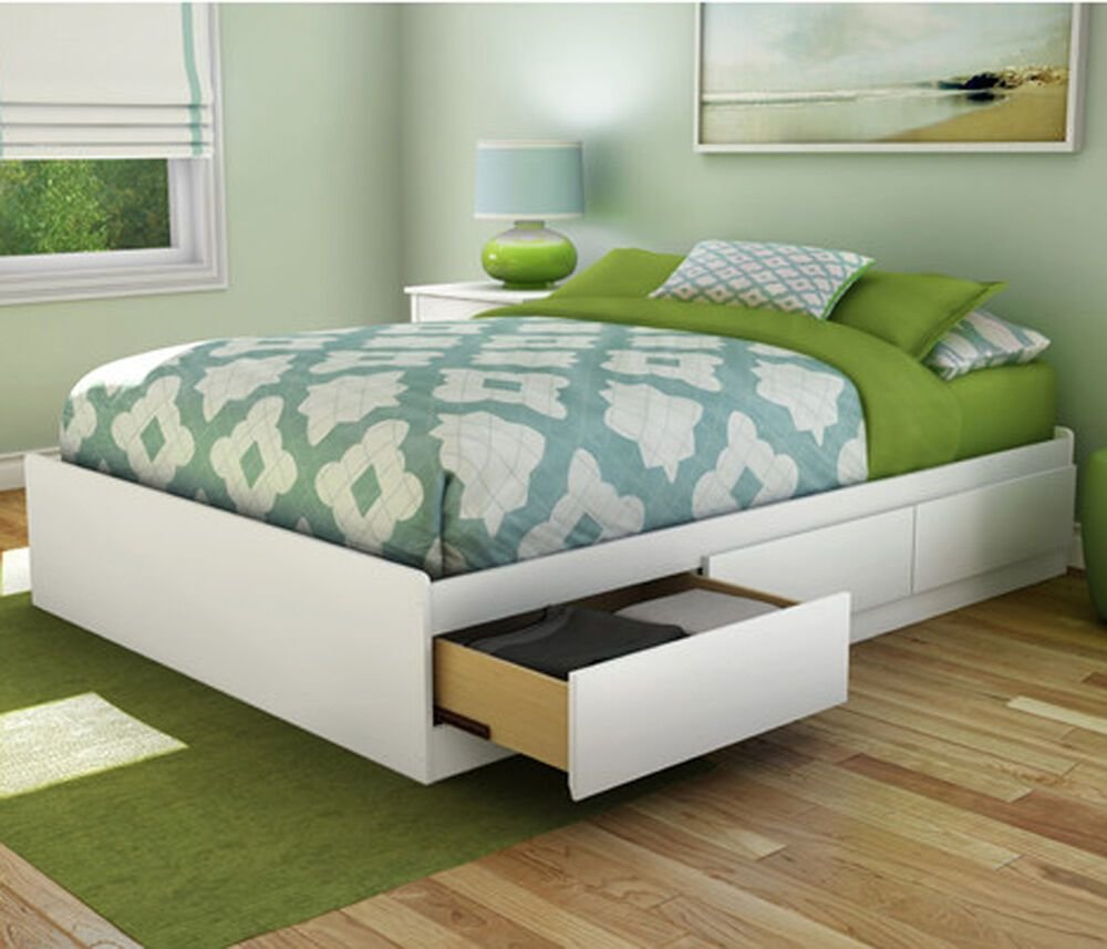 Best Platform Bed Frame Full Size With 3 Storage Drawers Wood With Pictures