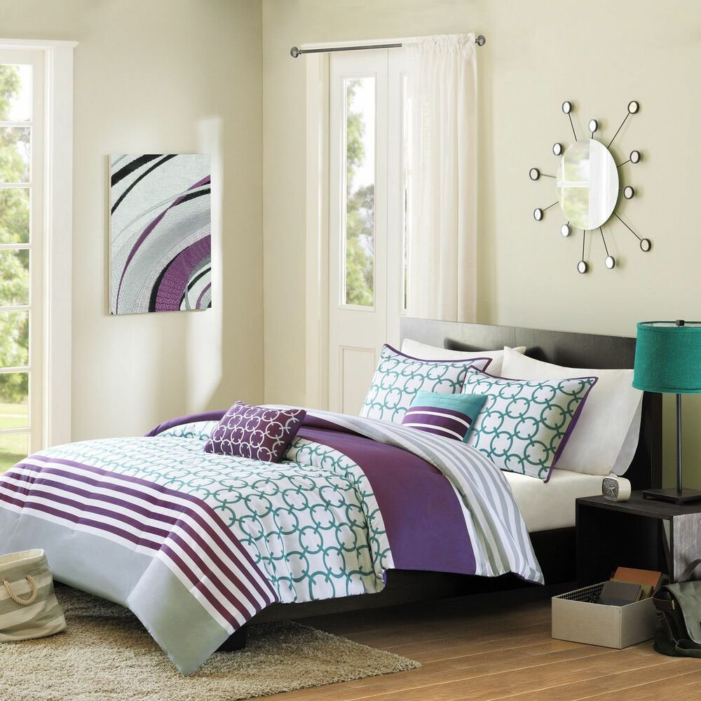 Best Modern Chic Blue Teal Purple Aqua Chevron Stripe Girls Comforter Set Pillows Ebay With Pictures