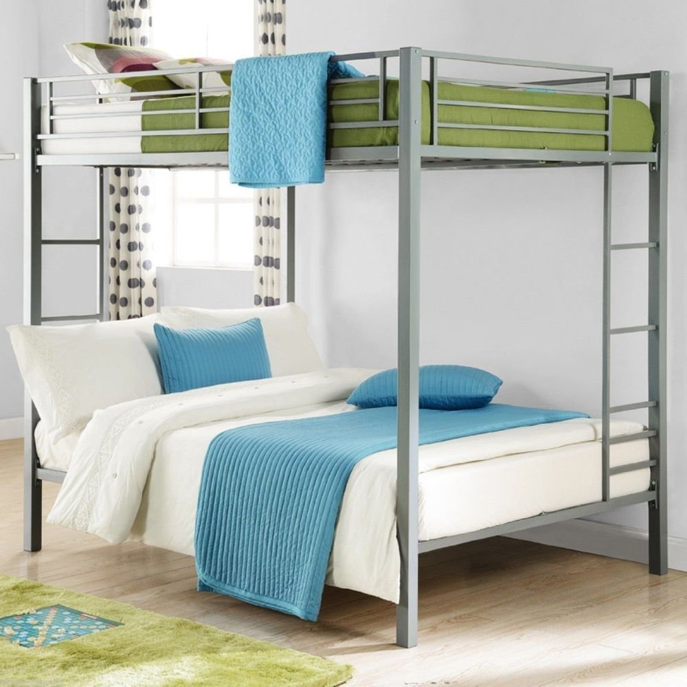 Best Full Over Full Metal Bunk Bed Silver Kids Bedroom With Pictures