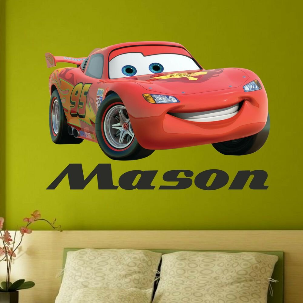 Best Any Name Disney Cars Wall Stickers Boys Lightning Mcqueen With Pictures