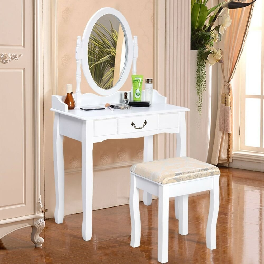 Best Us Vanity Table Jewelry Makeup Desk Bench Dresser W Stool With Pictures